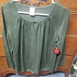 Faded Glory olive green suede feel shirt